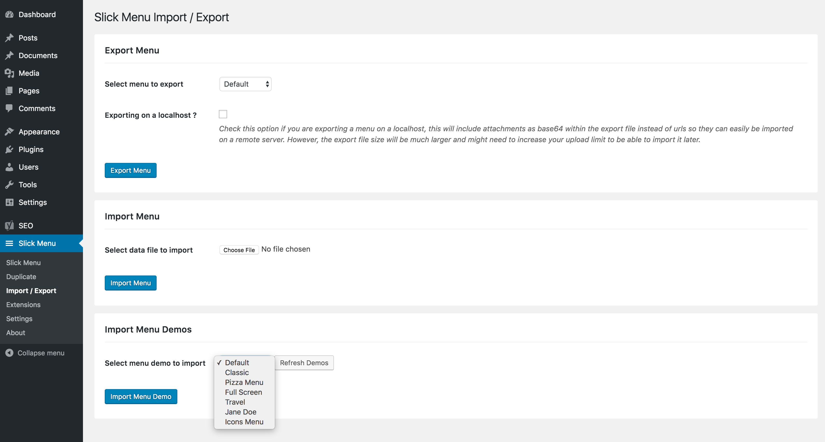Slick Menu – Import / Export Extension (Menus)