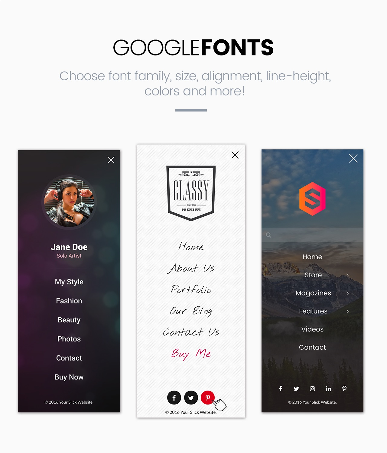 Slick Menu - Google Fonts