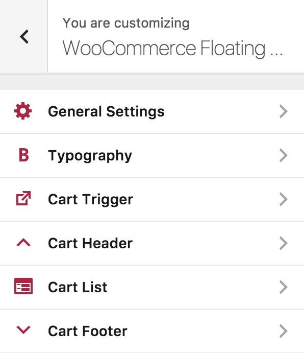 Customizer Options - WooCommerce Floating Cart