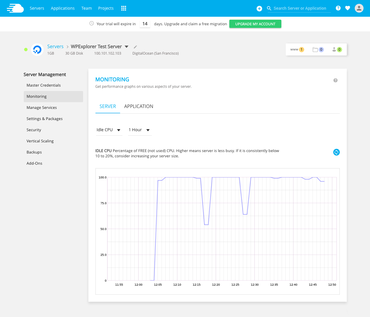 Cloudways Server Monitoring: Idle CPU
