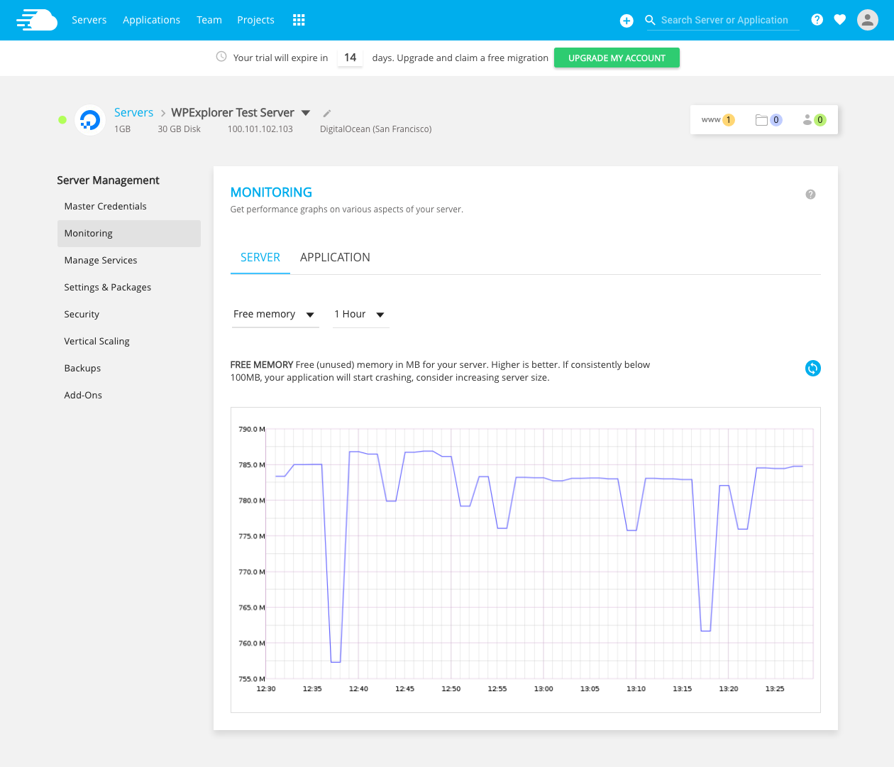 Cloudways Server Monitoring Free Memory