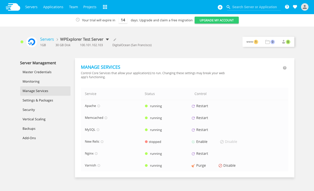 Cloudways Manage Services
