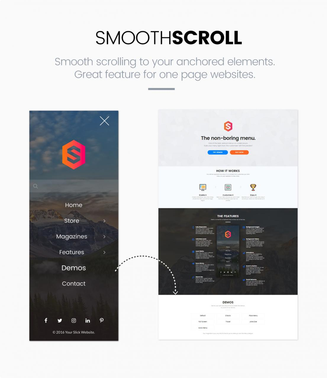 Slick Menu - Smooth Scroll to anchored elements