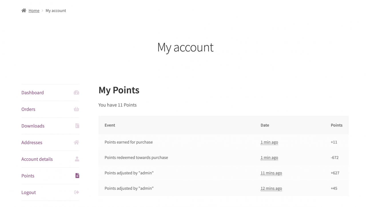 Show customers their points history on the My Account page